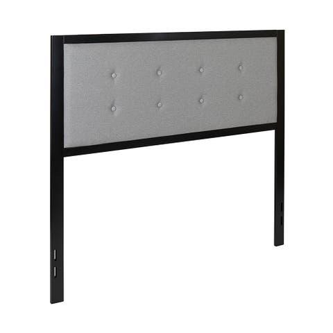 Offex Bristol Metal Tufted Upholstered Full Size Headboard Light Gray
