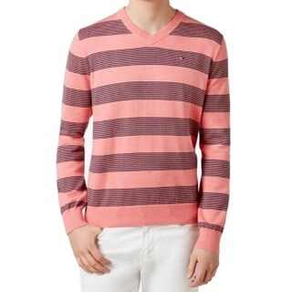 Tommy Hilfiger NEW Pink Geranium Mens Size 2XL V-Neck Cotton Sweater