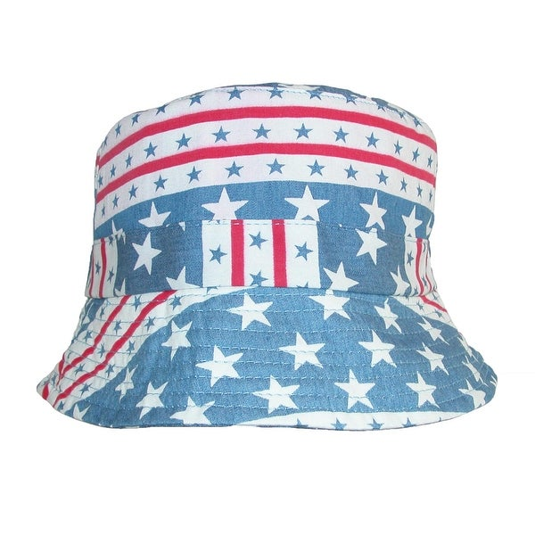 David & Young Cotton American Flag Stars and Stripe Bucket Hat