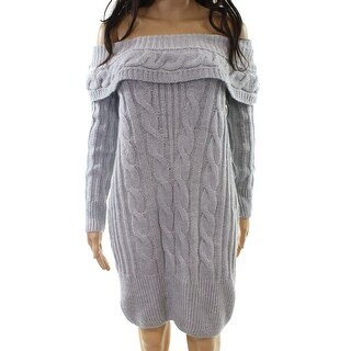Miss Selfridge NEW Gray Womens 6 Off-Shoulder Cable-Knit Sweater Dress