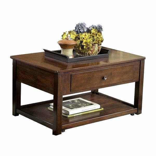 Ashley T477 9 Dark Brown Marion Lift Top Tail Table W Hand Finished