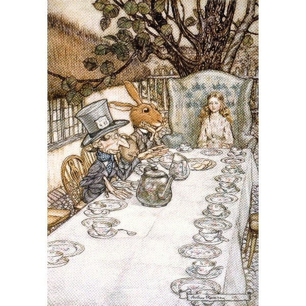 Alice in Wonderland Tea Party - (artist: Rackhaw c. 1907) - Vintage Advertisement (Acrylic Serving Tray)