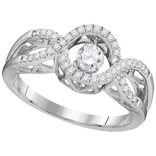 10kt White Gold Womens Round Natural Diamond Twinkle Solitaire Moving Fashion Ring 1.00 Cttw