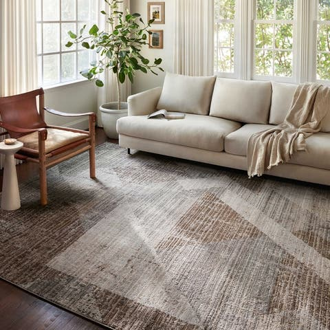 Alexander Home Grant Modern Geometric Distressed Area Rug