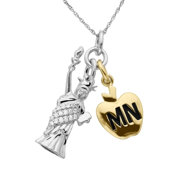 Manhattan Collection: Big Apple & Statue of Liberty Charm Pendant with Diamonds in 14K Two-Tone Gold