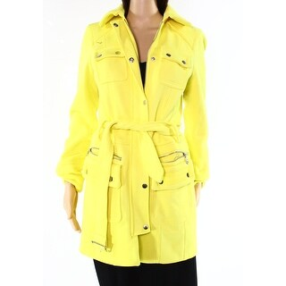 INC NEW Yellow Womens Size Large L Front-Zip Belted Knitted Coat