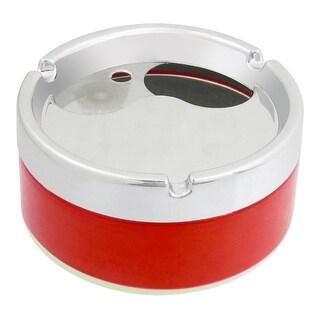 Unique Bargains Unique Bargains Silver Tone Red 10cm Diameter Cylinder Shaped Cigarette Holder Ashtray