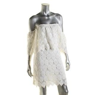 JOA Womens Casual Dress Crochet Off-The-Shoulder