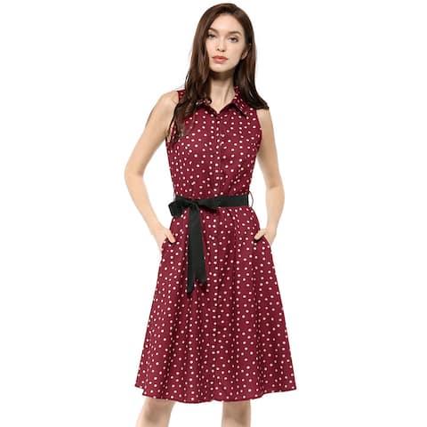 Women's Sleeveless Polka Dot Midi Shirt Dress - Wine Red