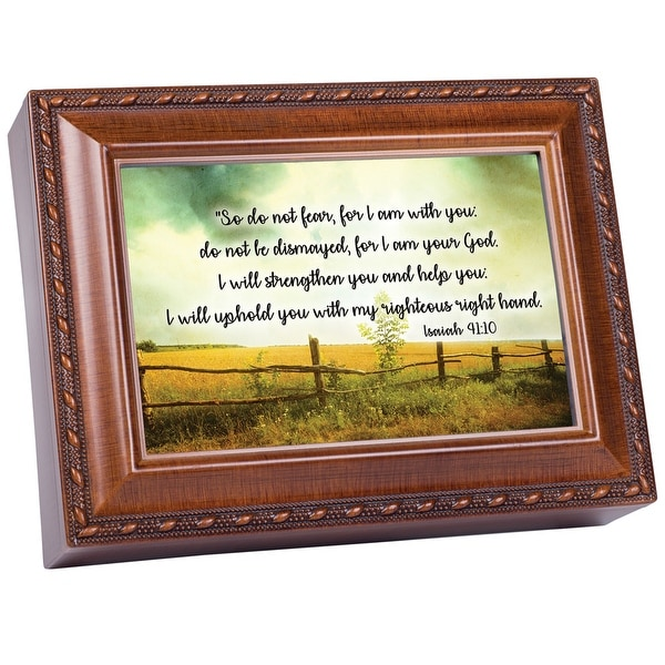 """6"""" Brown and Green Rectangular Religious Musical Box - N/A"""