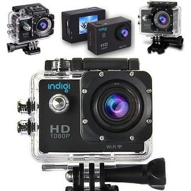 Indigi® NEW 4K Action Sports Camera DVR - Waterproof Casing - Helmet & Pole Mounts Included - WiFi sync to iOS or Android