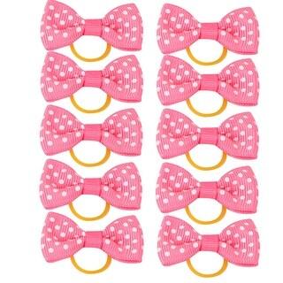 Pet Dog Nylon Dots Pattern Bowknot Decoration Ponytail Hair Holder Pink 10pcs
