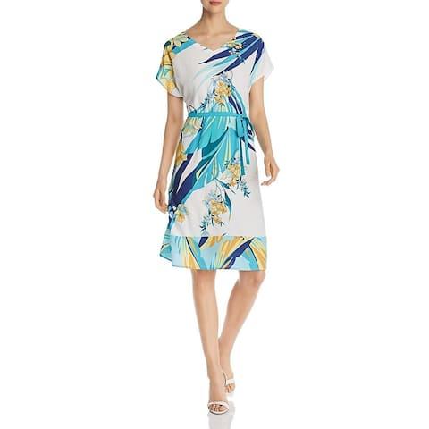 Basler Womens Tropical Casual Dress Floral A-Line - White/Blue