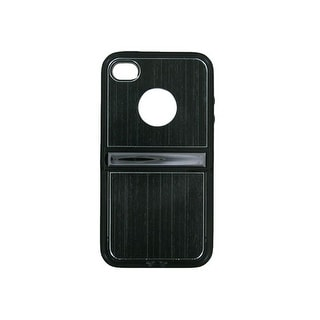 Hard Plastic Aluminum Flip Case for Apple iPhone 4/4S (Black)