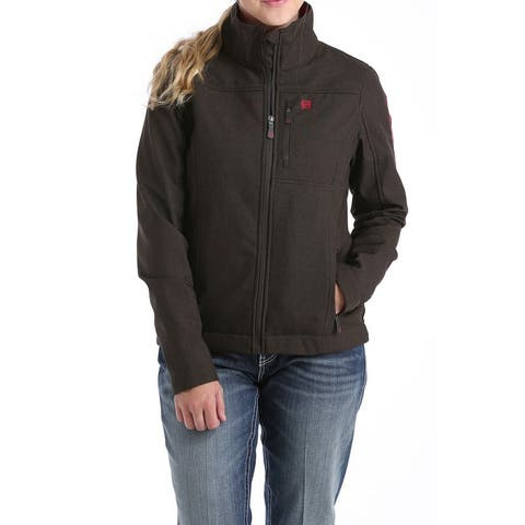 Cinch Western Jacket Womens Textured Zip Logo Brown