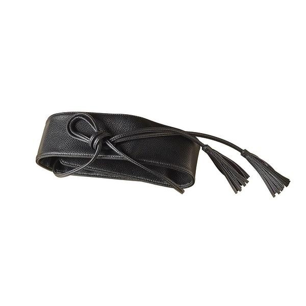 Women's Faux Leather Belt - Tassel-Tie Wrap Belt in Metallic Colors - One size