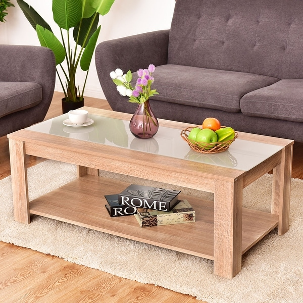 Shop Costway Coffee Table Rectangle Tempered Glass Top W