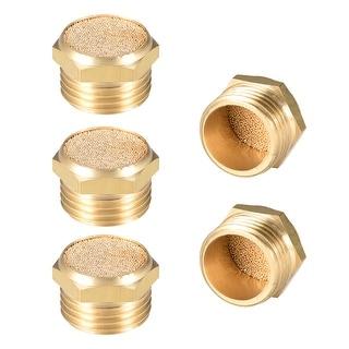 """Brass Exhaust Muffler, 1/2"""" G Male Thread Bronze Muffler w Brass Body Flat 5pcs - 1/2"""" G 5pcs"""