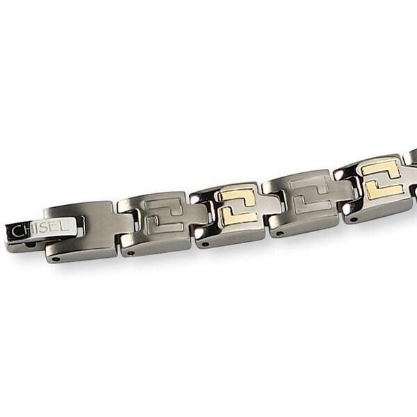 Chisel 14K Gold Inlay Brushed Titanium Bracelet - 8.5 Inches
