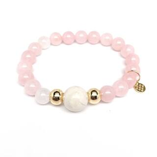 "Pink Rose Quartz Pride 7"" Bracelet