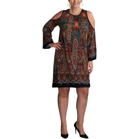 ECI New York Womens Plus Shirtdress Cold-Shoulder Printed - Red/Teal - 2X