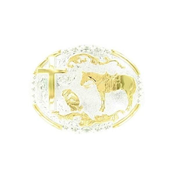 Crumrine Western Belt Buckle Oval Kneeling Cowboy Gold Silver - 3 x 4 1/4
