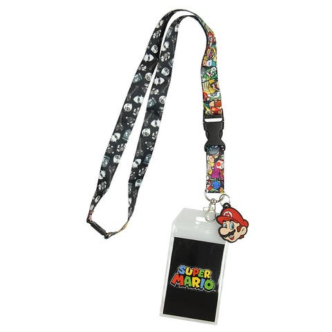 Nintendo Super Mario Characters Reversible Breakaway Keychain Lanyard with ID Holder, Rubber Mario Charm and Sticker