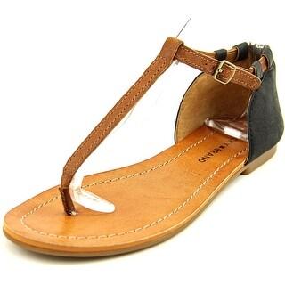 Lucky Brand Ezzra Women Open Toe Leather Black Thong Sandal