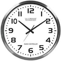 "La Crosse Technology 404-1220 20"" Brushed Aluminum Atomic Wall Clock"