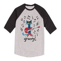 Pete The Cat  Groovy-Youth Raglan - ath hea/hea black