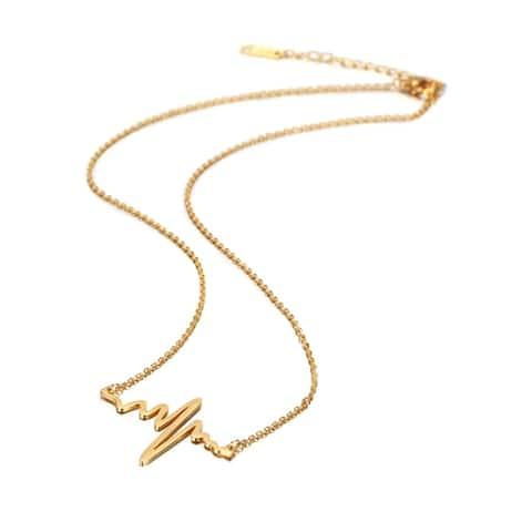 Gold Plated Heart Pulse EKG Pendant Necklace