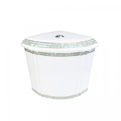 Corner Toilet Tank Green Gold Painted White Vitreous China