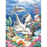"Dolphins In The Sea - Pencil Works Color By Number Kit 9""X12"""