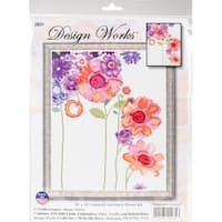 "Watercolor Garden Counted Cross Stitch Kit-11""X14"" 14 Count"