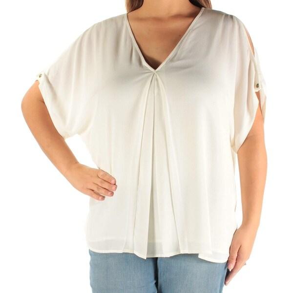 0bfc21cb9ff8a5 Shop Michael Kors White Ivory Women s Size XL Cold Shoulder Blouse ...
