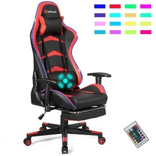 Link to Massage LED Gaming Chair with Lumbar Support & Footrest-Red Similar Items in Ergonomic Chairs