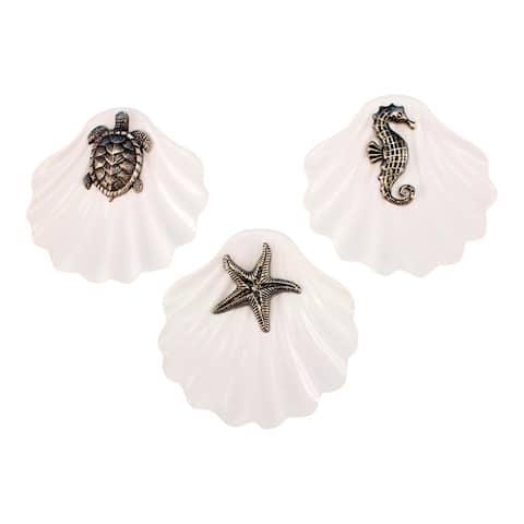 Turtle Starfish Seahorse Sealife White Ceramic Clam Ring Holder Set of 3