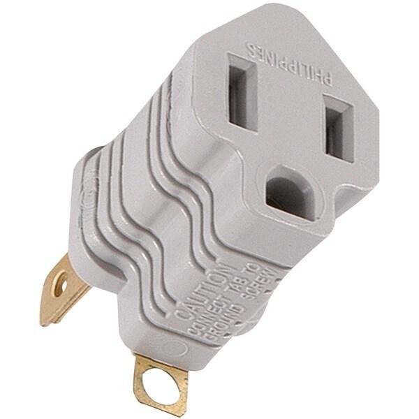 Ge 58900 Polarized Grounding Adapter Plug (Gray)