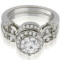 1.02 cttw. 14K White Gold Antique Round Cut Diamond Engagement Set - Thumbnail 0