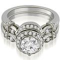 1.27 cttw. 14K White Gold Antique Round Cut Diamond Engagement Set - Thumbnail 0