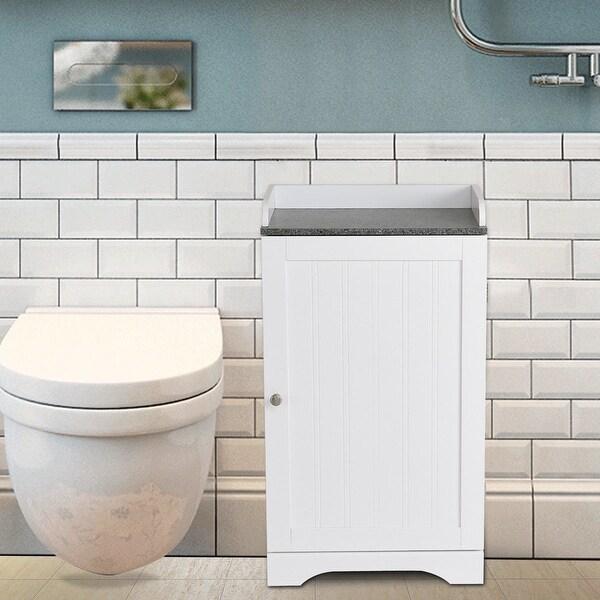 Shop Costway Bathroom Floor Storage Cabinet Freestanding Adjustable Shelves W/Single Door