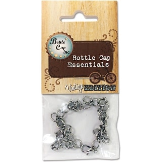 Bottle Cap Inc Vintage Charm Bracelet 1/Pkg-Antique Silver Curb 8.5""