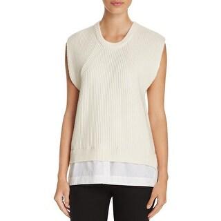 DKNY Womens Pullover Sweater Ribbed Knit Mixed Media