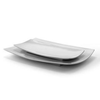 Link to Gibson Elite Gracious Dining 2 Piece Serving Platter Set in  White Similar Items in Serveware