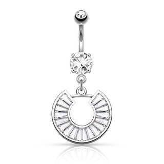 "Princess Cut CZ Pave Horseshoe Dangle Surgical Steel Navel Ring-14GA-3/8"" Length (Sold Ind.)"