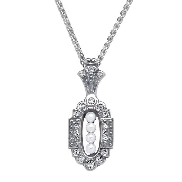 Van Kempen Victorian Simulated Pearl Pendant with Swarovski Crystals in Sterling Silver