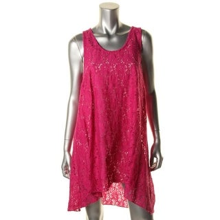 Profile Womens Lace Hi-Low Dress Swim Cover-Up - M