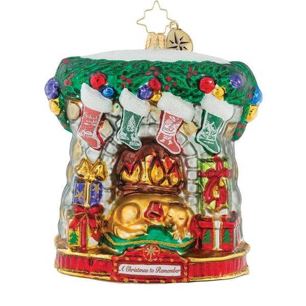 "5"" Christopher Radko ""Holiday Hearth"" Glittered Glass Christmas Tree Ornament #1019591"