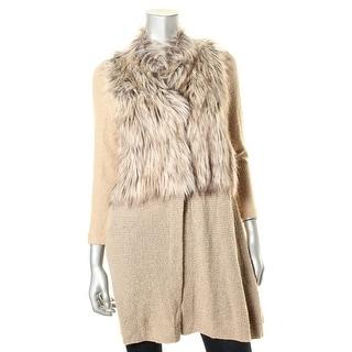 Nic + Zoe Womens Faux Fur Panel Textured Sweatercoat