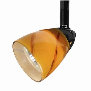 Link to 50 Watt Track Fixture with Handblown Glass Shade, Black and Orange Similar Items in Track Lighting